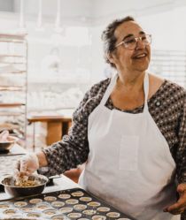 laurie wolf making edibles in her kitchen